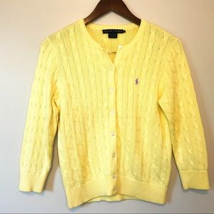 RALPH LAUREN Blue Label Yellow Cable Knit Cardigan